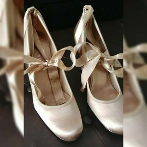 Blush Satin Ballerina Bow Tie Up Heels